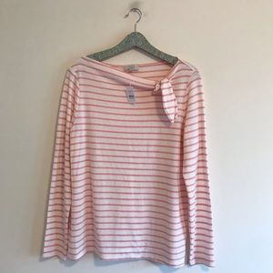 LOFT Outlet | NWT Striped Bow Neck Top